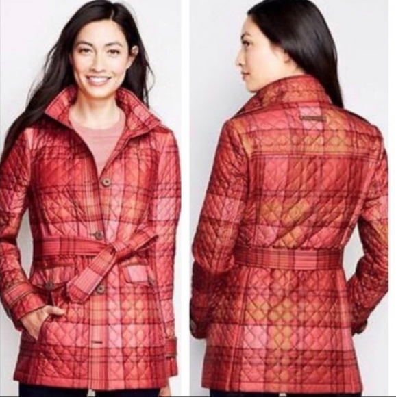 Lands End Quilted Button Plaid Belted Jacket